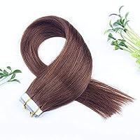 FidgetGear Remyの人間の毛髪延長7A 40cmの継ぎ目が無いPUの皮のよこ糸の方法16インチテープ #04ミディアムブラウン