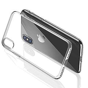 iPhone X ケース iPhone X バンパー [ メタリック 水洗い可 ] [ ワイヤレス充電 対応 ] [ 超薄型 超軽量 ] [ 気泡防止 擦り傷防止 ] [ おしゃれ 高級感 ] アイフォンX用耐衝撃カバー ( iPhone X , iPhone 10 , クリア )【Humixx】