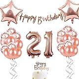 ローズゴールド誕生日パーティー シャンパン色 アルミバルーン 紙吹雪入れ 華やか飾りセット(21歳)
