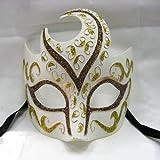 【コスプレ】仮面舞踏会 ホワイト&ゴールド スパークリング ベネチアンマスク
