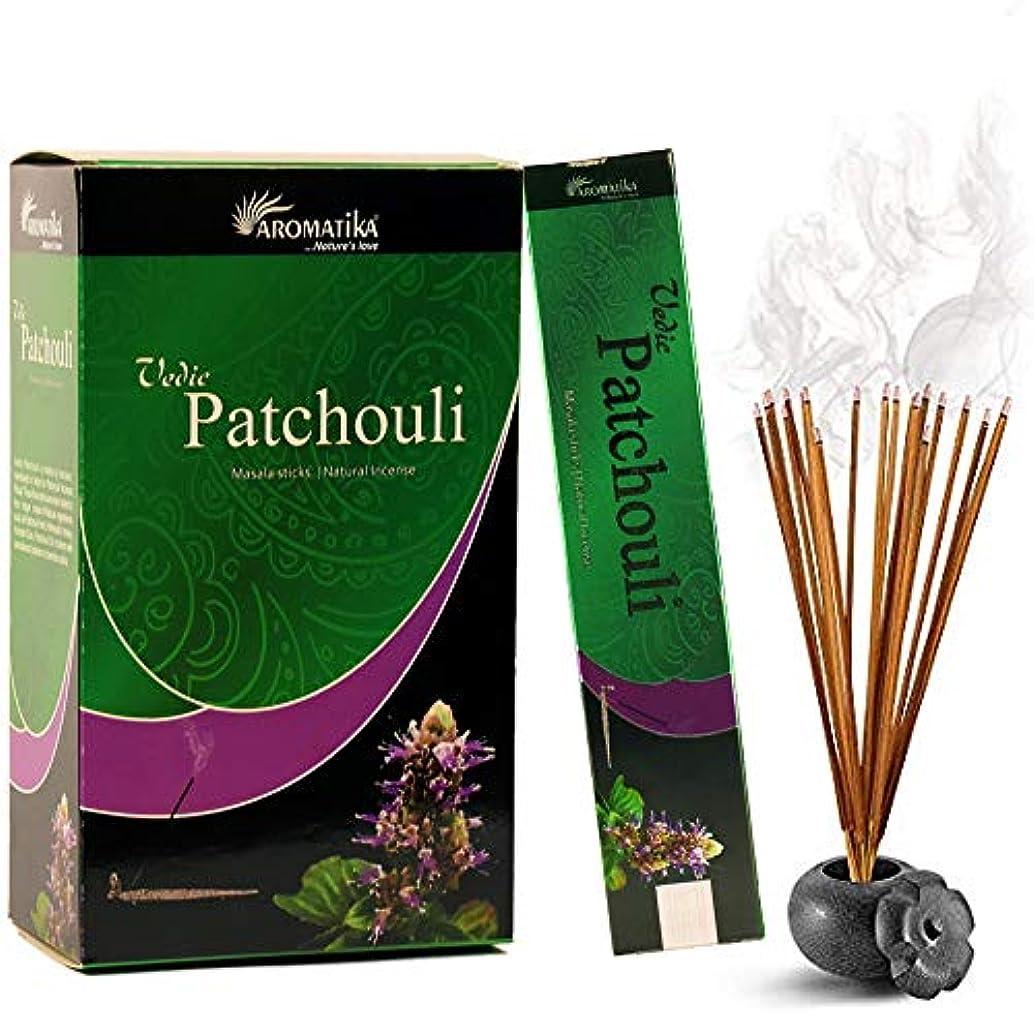 ビジュアルカジュアル重くするaromatika Vedic Patchouli自然Masala Incense Sticks inパックof 12