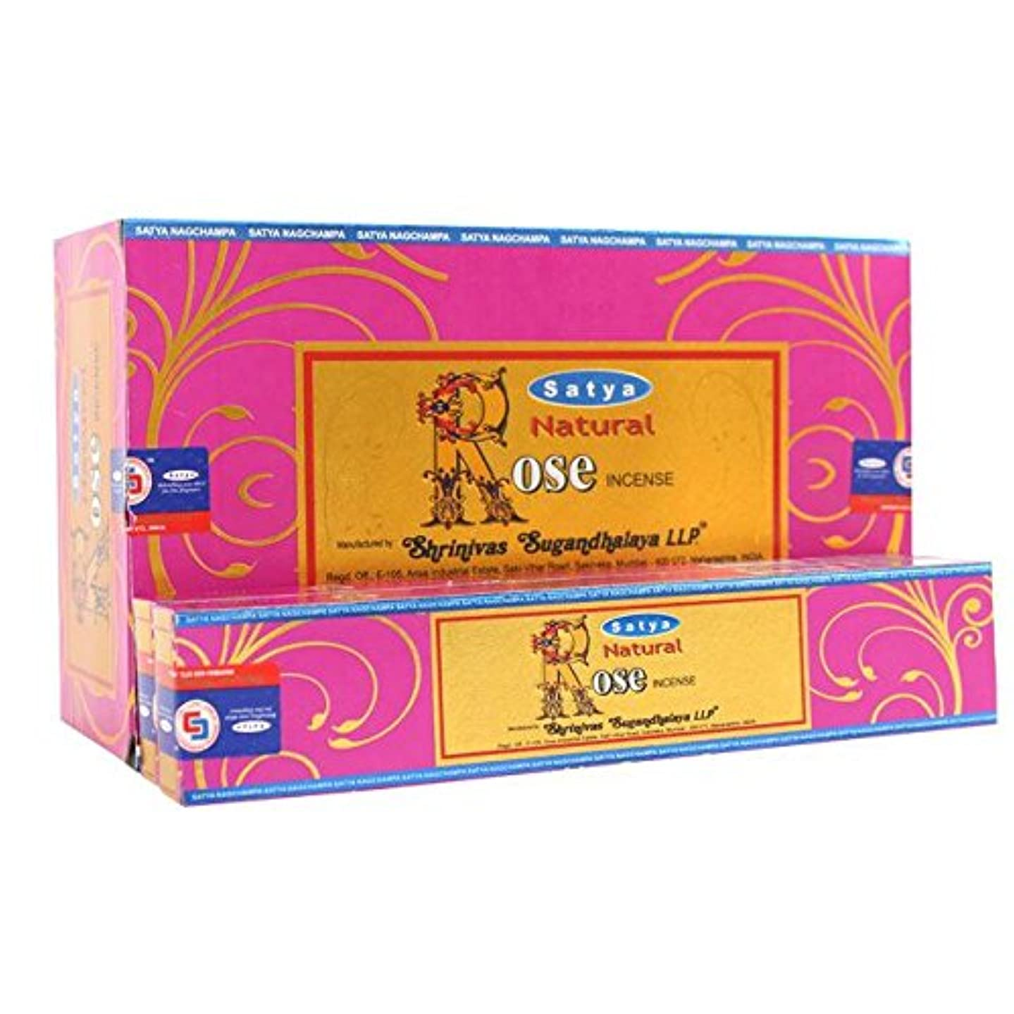 実業家課税見つけたBox Of 12 Packs Of Natural Rose Incense Sticks By Satya