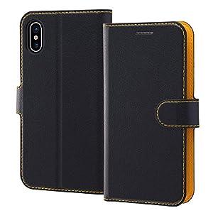 レイ・アウト iPhone X ケース 手帳型 シンプル マグネット/ブラック/オレンジ RT-P16ELC1/BOR