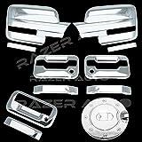 09–14フォードf150トリプルクロムメッキミラーカバー( Does Not Fit On Towingミラー、2ドアハンドルカバーキーパッドとずでPassenger鍵穴、テールゲートハンドル、ガスドアカバー