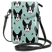 ボストンテリアミント レディース、女の子用ショルダーストラップ付きクロスボディ財布携帯電話財布ミニショルダーバッグ
