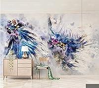 Minyose カスタム3 D壁紙カラフルな手描きの水彩画の魚の花の蝶のテレビの背景の壁紙の壁画-300Cmx210Cm