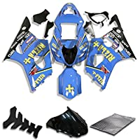 9FastMoto suzuki スズキ 2003 2004 K3 GSXR1000 GSXR 1000 03 04 GSX R1000 K3 用フェアリング オートバイフェアリングキット ABS 射出成形セット スポーツバイク カウル パネル (ブルー) S0957
