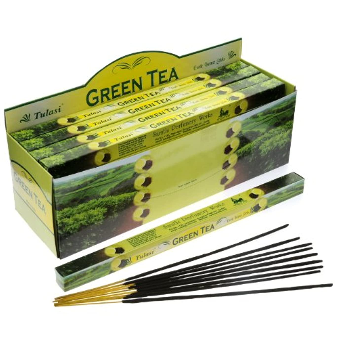 幽霊あいまいよろめくTulasi Green Tea Incense, 8 Sticks x 25 Packs