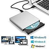 Blingco 外付けCDドライブ、USB2.0 超薄型 ポーダブルなDVD+R, DVD-R, CD-ROM, DVD-ROM, CD-R, CD-RWレコーダー CD-RW/DVD-R外付けプレイヤー光学式USB2.0記録型ドライブ ノートパソコン、ラップトップ PCに適合 Windows 2000/XP/Vista/Windows 7 Mac OS( 全てのバーション)対応可 シルバー