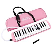 Melodica Keyboard - 32 Key Piano Style Melodion Students Musical Instrument Suitable for Beginners and Children Includes Carrying Bag Pink 16.46 x 1.77 x 3.98 Inches [並行輸入品]