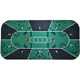 Texas Hold ' em長方形ポーカーマット71 x 35インチ花パターンゴムゲームパッド