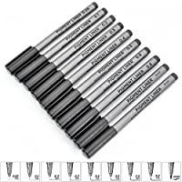 tropical 水性ペン ファインライナー 細書き インクペンセット ブラック 線画 マルチライン 製図ペン 0.05mm 0.1 mm 0.2 mm 0.3 mm 0.4 mm 0.5 mm 0.6 mm 0.8 mm 10個入り