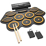 Electronic Drum Set for Kids, Adult Beginner Pro Drum Practice Pad Kit with Foot Pedals Drum Sticks Headphone Jack Built-in Speaker 10Hour Playtime Rechargeable Battery