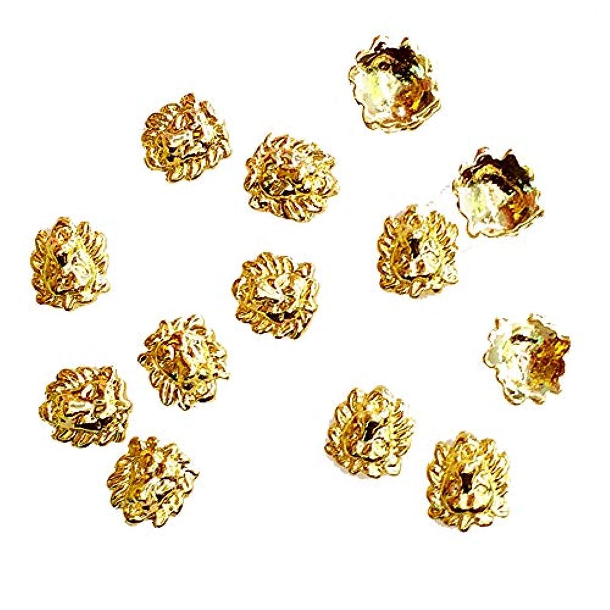周術期撤退判決10個入り/ロット女性のための7 * 7ミリメートルゴールドライオン3Dデザインメタルアロイネイルアートの装飾ネイルジェルステッカーDecos