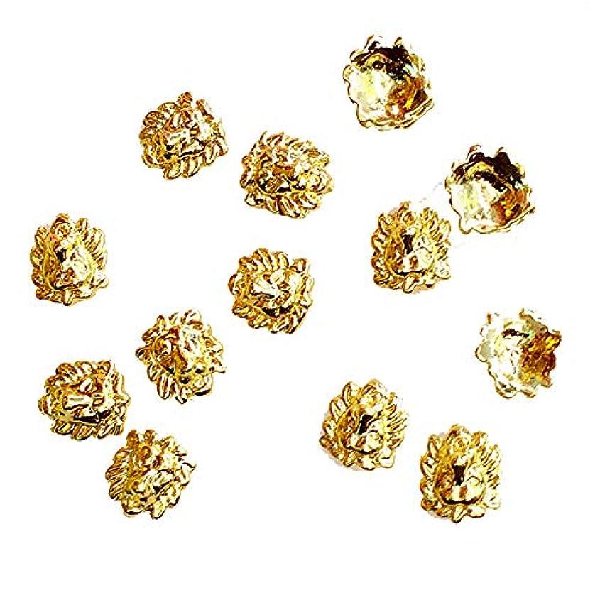 キャプション聖域暴力10個入り/ロット女性のための7 * 7ミリメートルゴールドライオン3Dデザインメタルアロイネイルアートの装飾ネイルジェルステッカーDecos