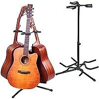 ギター スタンド アコギ/エレキ 3本 立て ベーススタンド 折りたたみ/三脚 ラッカー コンパクト/省スペース 転倒防止用ゴム付属