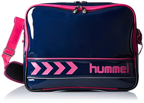 [ヒュンメル]ショルダーバッグ エナメルショルダーバッグ ネイビー×S.ピンク