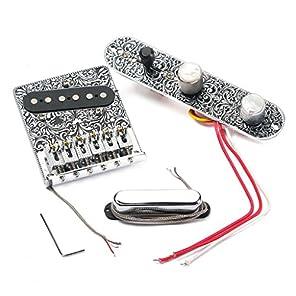 ノーブランド品 エレキギターに対応 制御線 ピックアップ ブリッジ 楽器 部品セット 50年代のデザイン 便利