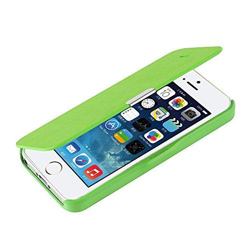 iPhone SE ケース, iPhone5s ケース, iPhone5 ケース, [MTRONX] 軽量 超薄型 超耐磨 最軽量 手帳型 マグネット式 レザーケースApple iPhone 5 / iPhone 5s / iPhone SE 対応 専用 アイフォン 5 / アイフォン 5s / アイフォン SE カバー [グリーンGreen](MG-GN)