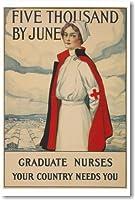 5つThousand看護師by June–新しいヴィンテージ再印刷ポスター