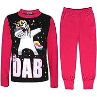 Kids Girls Dabbing Unicorn #Dab Pink Floss Fashion Pyjamas Loungewear Pjs 5-13Yr