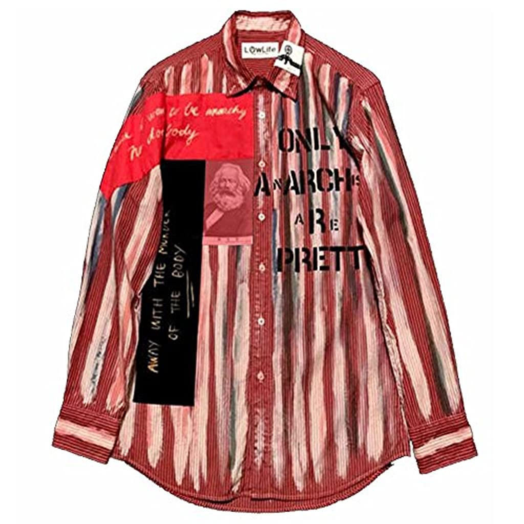 数字手がかり管理LOW LIFE(ローライフ) アナーキーシャツ レッド ハンドメイド シャツ 長袖 トップス punk セックスピストルズ パンク ロック ファッション