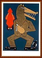 ポスター エドゥアルド アロヨ Petit Chaperon Rouge 限定50枚 サイン ナンバリング入 額装品 ウッドハイグレードフレーム(ナチュラル)