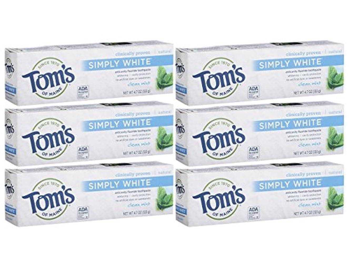 レキシコン称賛火山学者Tom's of Maine Simply White Clean Mint Toothpaste Paste, 4.7-Ounces Tubes by Tom's of Maine