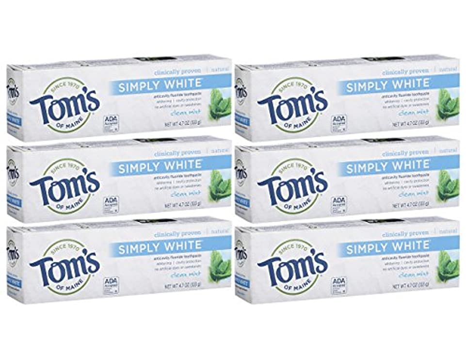 こするキャビン舌なTom's of Maine Simply White Clean Mint Toothpaste Paste, 4.7-Ounces Tubes by Tom's of Maine