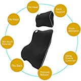HAOCOO Ventilativeメモリーフォーム車ランバーサポートクッションパッド&車ヘッド首枕キット、背中の痛み、Keep脊椎Aligned ONE SIZE ブルー