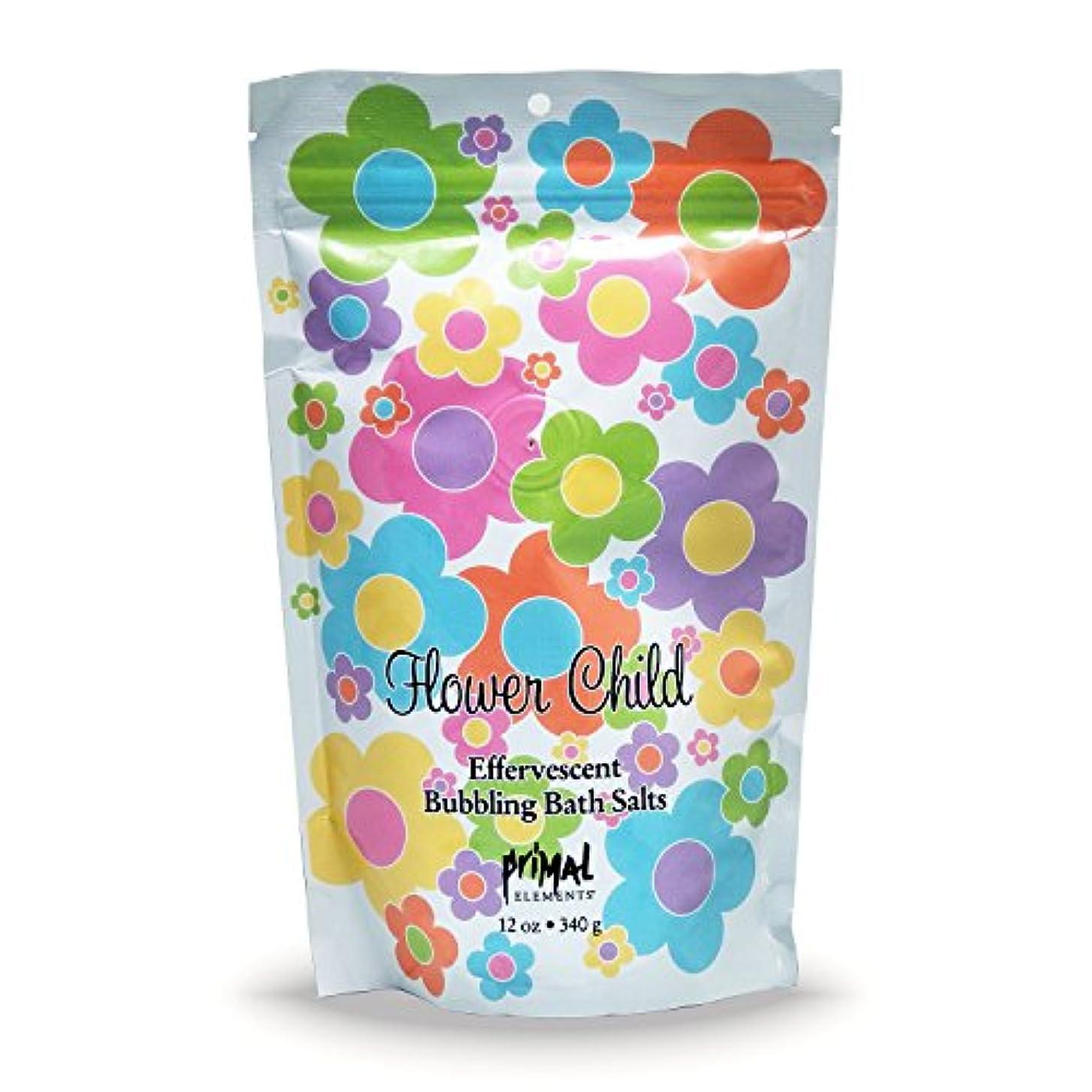 できれば豆抽象プライモールエレメンツ バブリング バスソルト/フラワーチャイルド 340g エプソムソルト含有 アロマの香りがひろがる泡立つ入浴剤