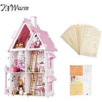 Large Wooden Kids人形HouseキットGirls PlayドールハウスMansion家具ミニチュアFigurines Ornamentsキッズ用ガールズギフト
