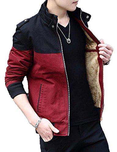 (ニカ)メンズ コート 春 秋 冬 コート 薄手と裏起毛 ジャケット 詰め襟 レジャー 長袖 ジャケット 修身 無地 ポケットを付け ファッションレッド裏起毛T3