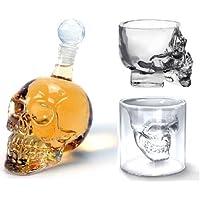 【ノーブランド品】スカル ボトル グラス セット (髑髏 ボトルセット ドクロデザインでバーやインテリアに最適)ウィスキーボトルとショットグラス2種類】計3点セット