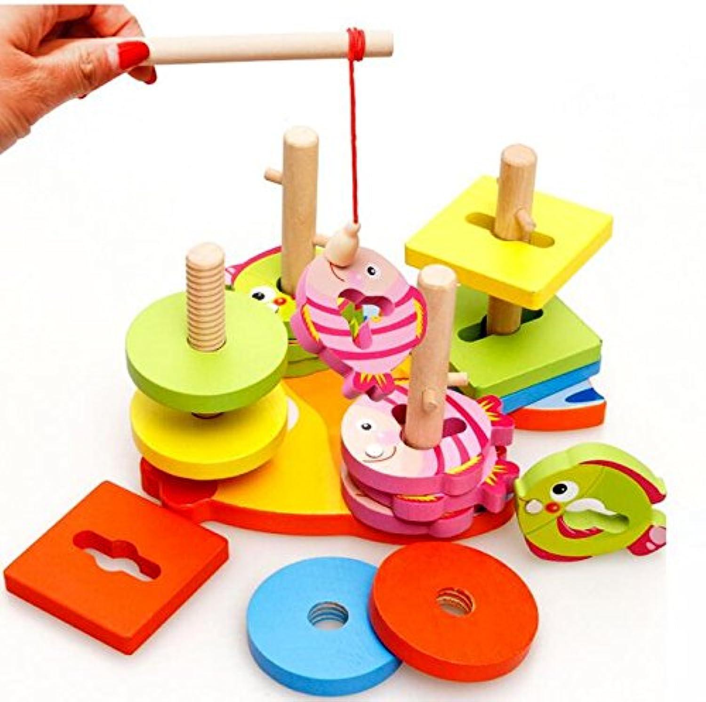 Wishtime 2in1 幾何学形の型はめと釣りゲーム 木のおもちゃ パズル 形合わせ 積み木 棒さし 図形 知育 玩具