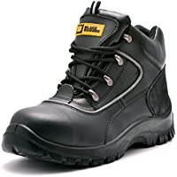 Black Hammer Mens Leather Safety Boots Mens Safety Boots S3 Steel Toe Cap Work Shoes Ankle Leather 7752
