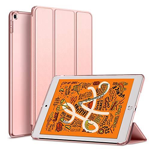 KENKE iPad mini 5 2019 ケース 軽量 薄型 耐衝撃 放熱 三つ折りスタンド オートスリープ機能 傷防止 クリア 背面 保護ケース スマートカバー iPad mini5(第五世代) 対応(ローズゴールド)