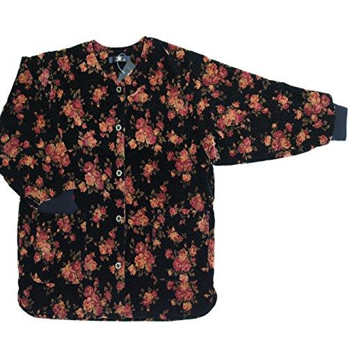 おばあちゃん スモック ベロア M/L/LL 212-7108k (M, 6.黄色と紫色のバラ)