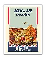 航空便発送 - 小包 - 美国?政?局 - ビンテージな広告ポスター によって作成された メルボーン・ブリンドル c.1940s - アートポスター - 28cm x 36cm