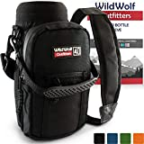 Water Bottle Holder for 40oz Bottles by Wild Wolf Outfitters - Black - Carry Protect and Insulate Your Best Flask with This Military Grade Carrier w/ 2 Pockets & an Adjustable Padded Shoulder Strap