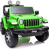 電動乗用カー 乗用ラジコン ジープ ラングラー ルビコン JEEP WRANGLER RUBICON 電動乗用ラジコンカー 乗用玩具 電動カー 車のおもちゃ 乗物玩具 (GREEN)