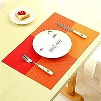 絶縁クッション CZ 2 PCS PVCダイニングテーブルプレースマットヨーロッパスタイルのキッチンツール食器パッドコースターコーヒーティーランチョンマット(オレンジ) (色 : オレンジ)