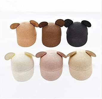 MARUTOI 麦わら帽子 キャップ キッズ 子ども用帽子 ストローハット 耳付き帽子 くま耳 猫耳 耳つき UVカット 赤ちゃん おしゃれ かわいい マリン帽 双子