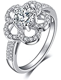 JewelryPalace 1.2ct フラワー キュービック ジルコニア CZ リング 花 スターリング シルバー925 指輪 桜 18号