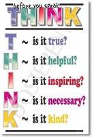 PosterEnvy「Think Before You Speak」教室用モチベーションポスター 英語版