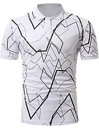 Aliciga ポロシャツ メンズ 半袖 不規則 ライン プリント 創造的 ゴルフ Tシャツ トップス ストリート系 人気 通勤 カジュアル スポーツ ファッション 大きいサイズ M~3XL 父の日 父親 彼氏 プレゼント