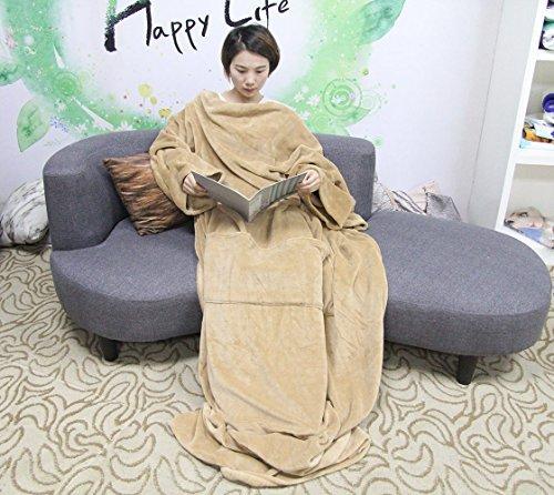 Winthome 着る毛布 ブランケット 袖付き毛布 着るブランケット 暖かく柔らかい素材 防寒 保...