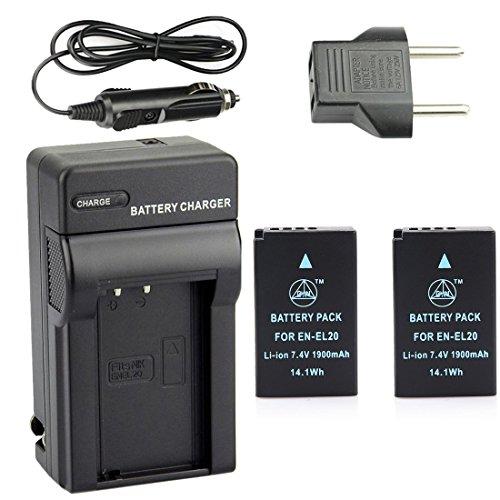 QIAOJINLIN 2個 完全互換バッテリー 急速充電器 対応 Nikon ニコン EN-EL20 EN-EL20A Coolpix A 1 J1 J2 J3 AW1 S1 V3 カメラ