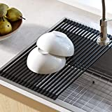 Kraus KRM-10BLACK Silicone-coated stainless steel Over the Over the Sink Multipurpose Roll-Up Dish Drying Rack, Black