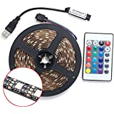 Auveach 2M 5V 5050 60SMD/M RGB LED Strip Lamp Bar TV Back Lighting Kit USB Remote Control Black